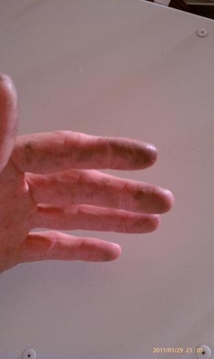 Structural adhesive all over my hands (after cleaning)