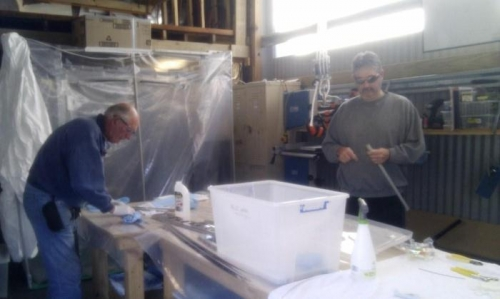 Dad and I preparing parts