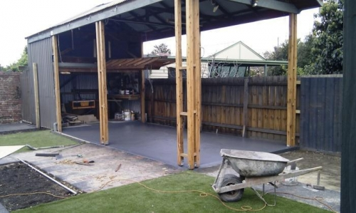 Carport floor going in.