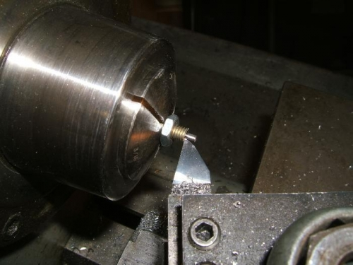 Shortening the bolts on the lathe