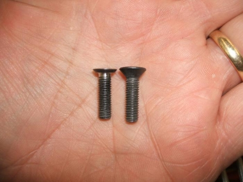 Reworked screw on the left