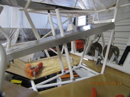 Passenger side view of rudder adjusting levers.