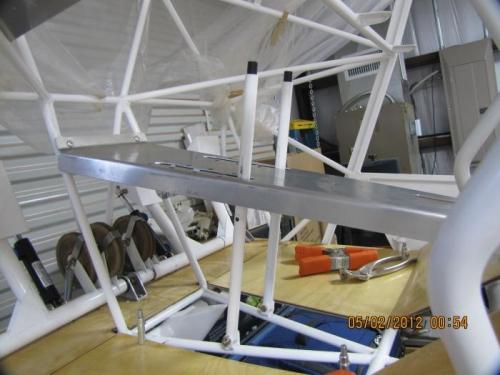 Pilot side view of rudder adjusting levers.