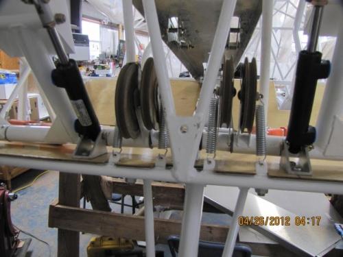 Adjustable rudder control pulleys.