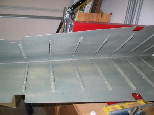 Finished riveting the rudder stiffners