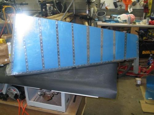 Finished riveting rudder skin to skeleton.