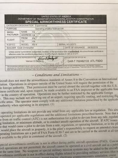 Certificate and Operating Limitations