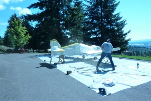 Mark painting the wing tips