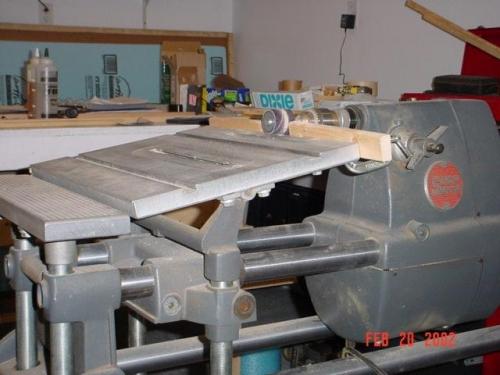 Machine set up to scarf plywood