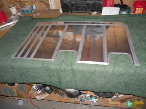Interior of left lower inboard wing skin scuffed and ready for cleaning and priming.