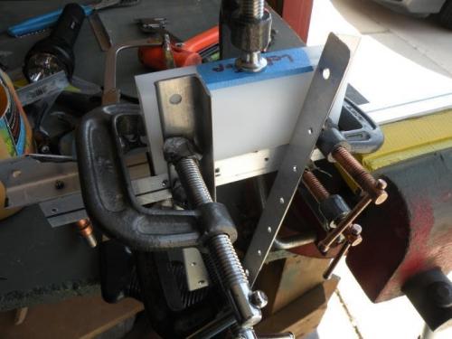 Setup to ensure bearing blocks are flush to the forward skin stiffeners.