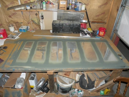 Interior of top left outboard skin primed.