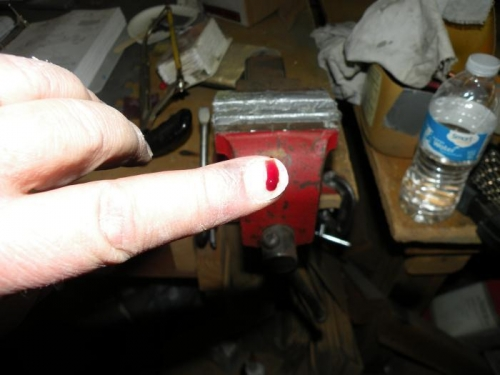 What happens when your finger gets in the way of the drill motor end of a broken 1/16