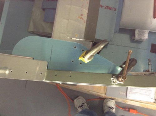 Latch plate clamped in place ready to drill.