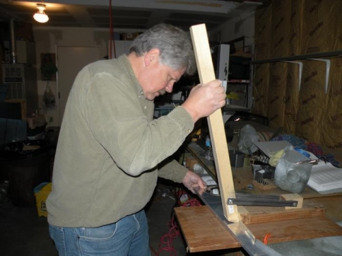 Squaring the flanges of the seat ribs.