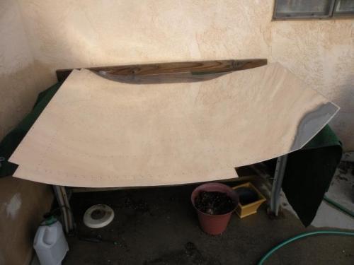 Repurposing Karen's potting table for parts prep.