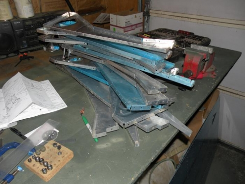 The aftermath of center fuselage disassembly.