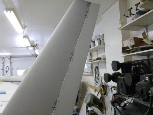 Rudder bolted on