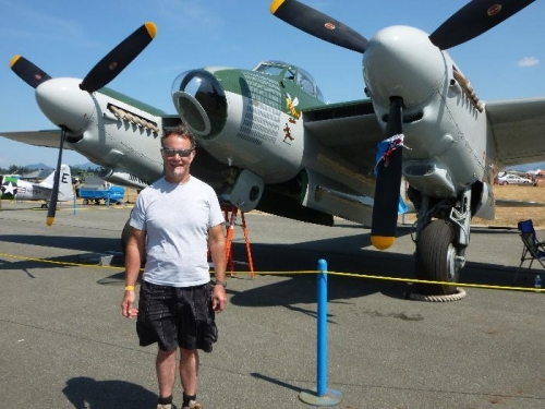 Me and a flying Mosquito bomber