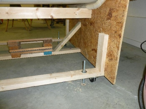 The cradle with casters and leveling rods