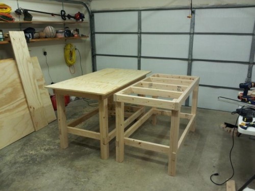 Mostly done here...added retractable wheels to both tables, shelf added - and the top of course