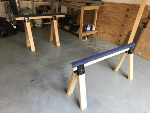 Both completed sawhorses with the short one in front.