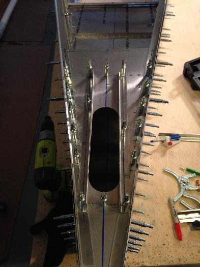 Top rear of the fuselage all drilled out.