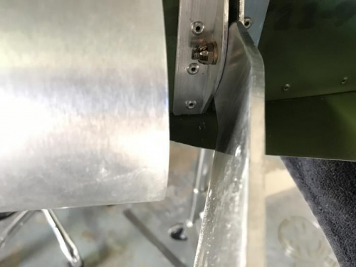 Upper rudder hinge assembly bolted and cottered in place.
