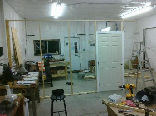 stud wall with door - not secured to floor