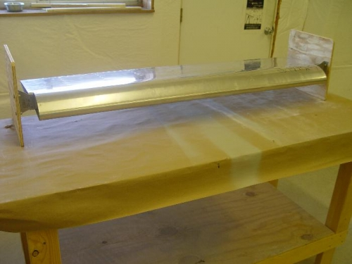 ailron in jig with simple brackets cleco'd in place