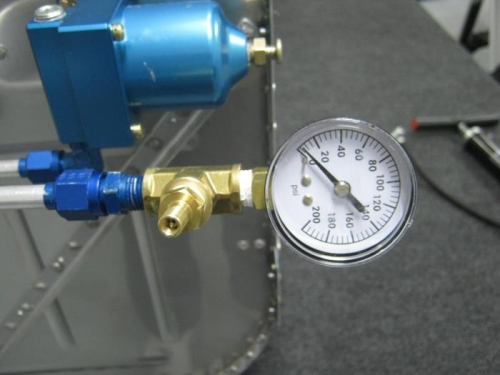 Attached pressure guage to gascolator and pressurized system