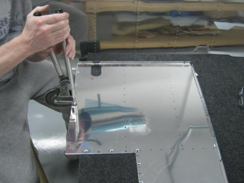 Step 1-Dimpling the 5 #19 holes in the F1224-R baggage floor