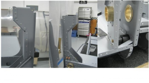Rivet the F1204H bulkhead cap to the F1204B-L aft bulkhead; install roller bushing