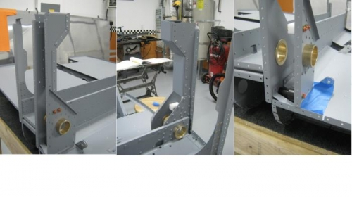Rivet the F1204H bulkhead cap to the F1204B-R aft bulkhead; install roller bushing