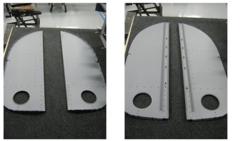 Installed nut plates on F107C baggage bulkhead and bulkhead channel