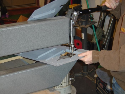 Here I am using the DRDT-2 dippler to squeeze some of the -3 rivets for the nut plates (use caution)