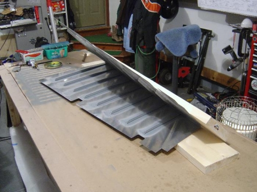 The rudder getting ready to be squeezed to form the trailing edge