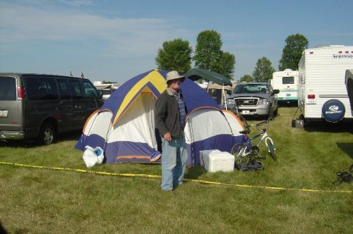 My brother-in-law Roy with our campsite in the background.