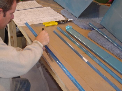 Marking the stiffners out of the angle stock