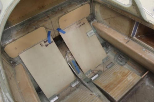 Trial fit seatbacks, spar hole covers  and thigh support