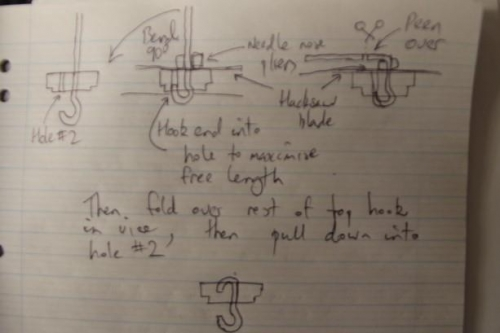Nice scrawly diagram of how I made the hooks.  This was the third method attempted...