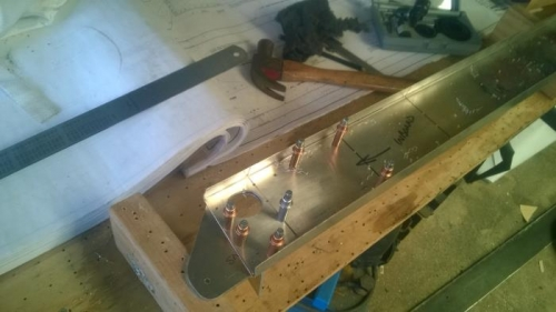 Spar bracket ready for rivetting.