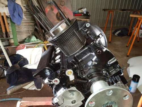 Front view of the first cylinder installed.