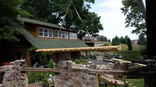 craning in log beams