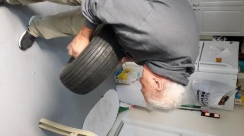 installing innertube in tire. Tough job!