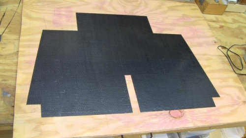 After 3.5 hrs of curing, Floorboard cut to pattern.