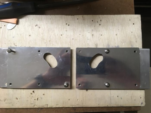 mounting brackets with covers on top