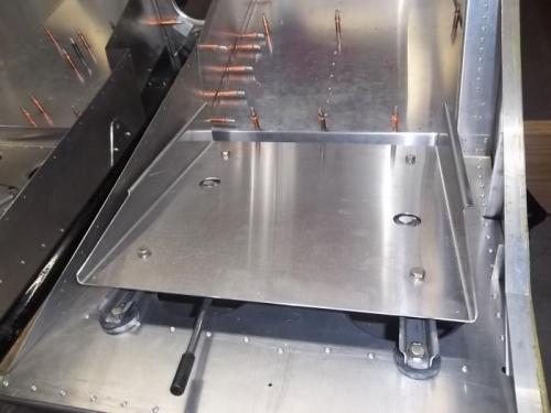 Pilot seat pan temporarily installed