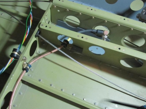 Adel clamp on the ADSB antenna cable