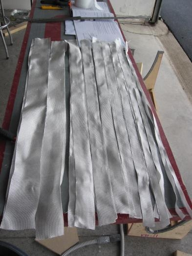 Fiberglass strips cut